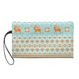 Knitted pattern with deers wristlet purse