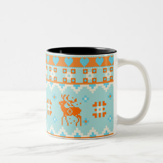 Knitted pattern with deers Two-Tone coffee mug
