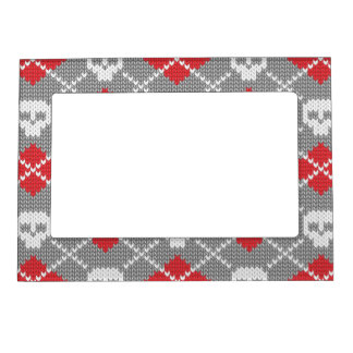 Knitted pattern with skulls magnetic photo frame