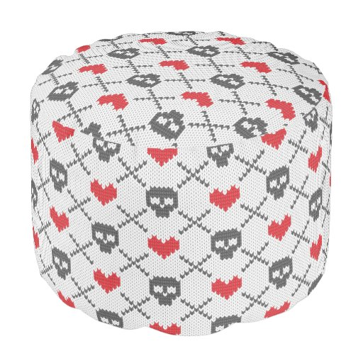 Knitting Pattern For Round Pouf : Knitted pattern with skulls round pouf Zazzle