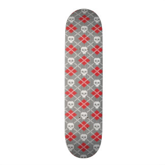 Knitted pattern with skulls skateboard deck
