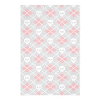 Knitted pattern with skulls stationery