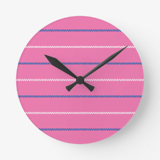 Knitted | Pink Blue White Pattern Design Round Clock