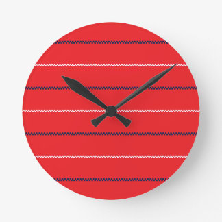 Knitted | Red Blue White Pattern Design Round Clock