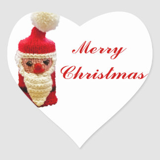 Knitted santa claus heart sticker
