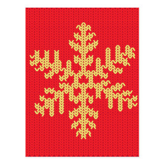 Knitted Snowflake Pattern Postcard