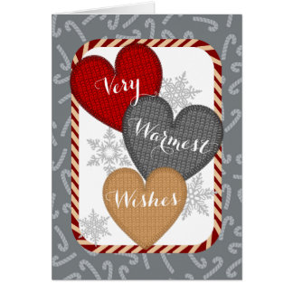Knitted sweater knitting crochet hearts Christmas Card