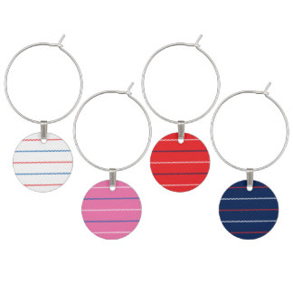 Knitted | White Pink Red Blue Pattern Design Wine Glass Charm
