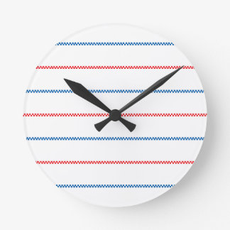 Knitted | White Red Blue Pattern Design Round Clock