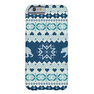 Knitted winter pattern with bears barely there iPhone 6 case