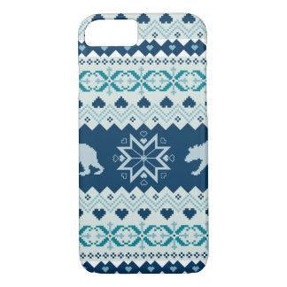 Knitted winter pattern with bears iPhone 8/7 case