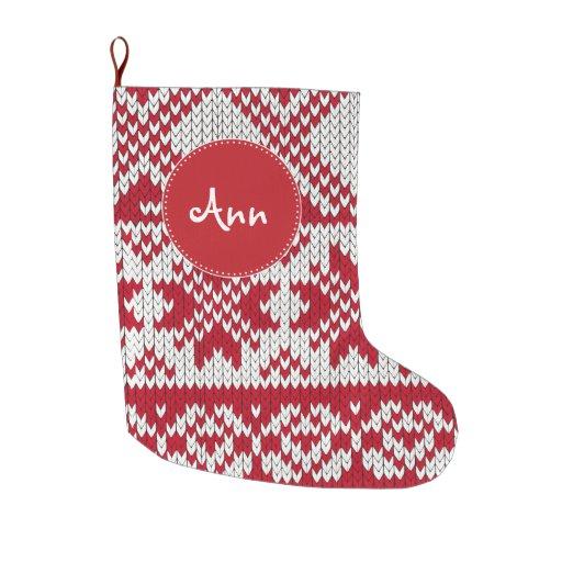 Knitting Pattern For Large Xmas Stocking : Knitted Xmas Large Christmas Stocking Zazzle