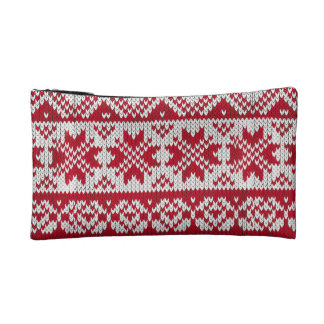 Knitted Xmas Monogram Cosmetic Bags