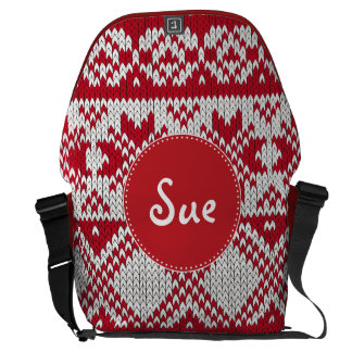 Knitted Xmas Monogram Courier Bag