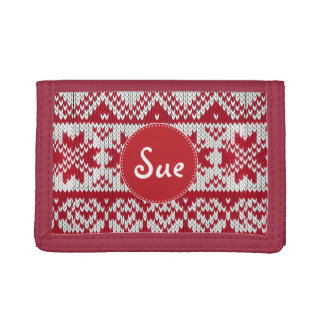Knitted Xmas Monogram Tri-fold Wallet