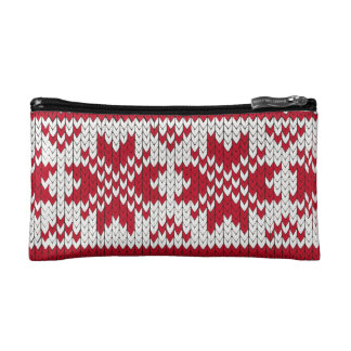 Knitted Xmas pattern in red and white Cosmetic Bag