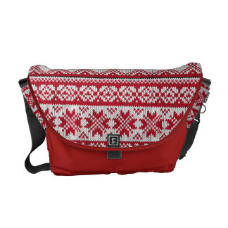 Knitted Xmas pattern in red and white Courier Bag