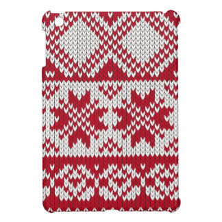 Knitted Xmas pattern in red and white iPad Mini Covers