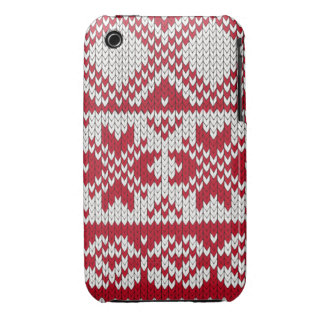 Knitted Xmas pattern in red and white iPhone 3 Case