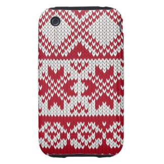 Knitted Xmas pattern in red and white iPhone 3 Tough Cover