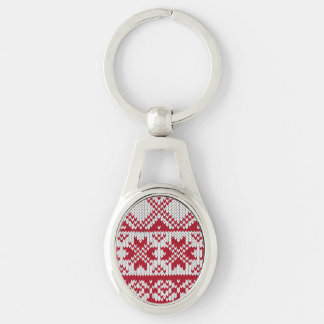 Knitted Xmas pattern in red and white Keychain