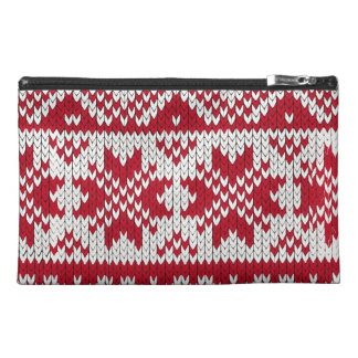 Knitted Xmas pattern in red and white Travel Accessories Bags