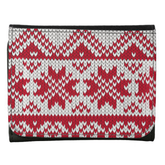 Knitted Xmas pattern in red and white Leather Trifold Wallet