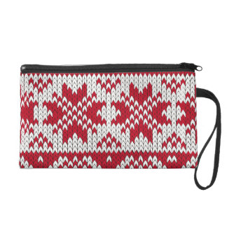 Knitted Xmas pattern in red and white Wristlet Purse