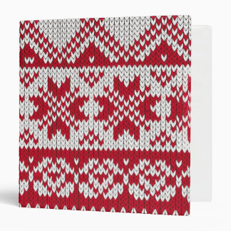 Knitted Xmas Pattern in Red & White 3 Ring Binder