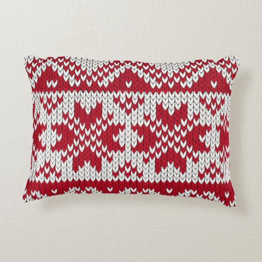 Knitted Xmas Pattern in Red & White Decorative Pillow Zazzle