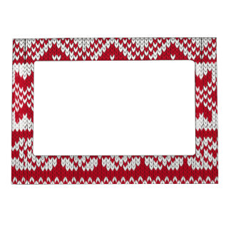 Knitted Xmas Pattern in Red & White Magnetic Photo Frame
