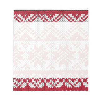 Knitted Xmas Pattern in Red & White Note Pads