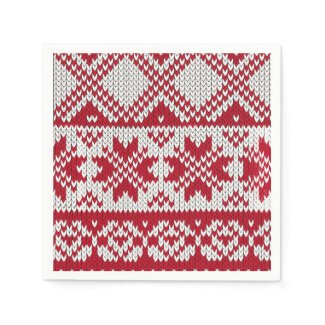 Knitted Xmas Pattern in Red & White Paper Napkin