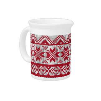 Knitted Xmas Pattern in Red & White Pitcher
