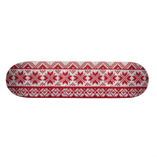 Knitted Xmas Pattern in Red & White Skateboard
