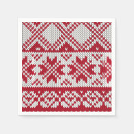 Knitted Xmas Pattern in Red &amp; White Standard Cocktail Napkin (<em>$66.45</em>)
