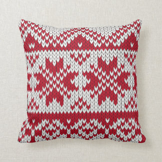 Knitted Xmas Pattern in Red & White Throw Pillow