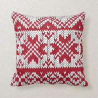 Knitted Xmas Pattern in Red &amp; White Throw Pillows (<em>$33.95</em>)
