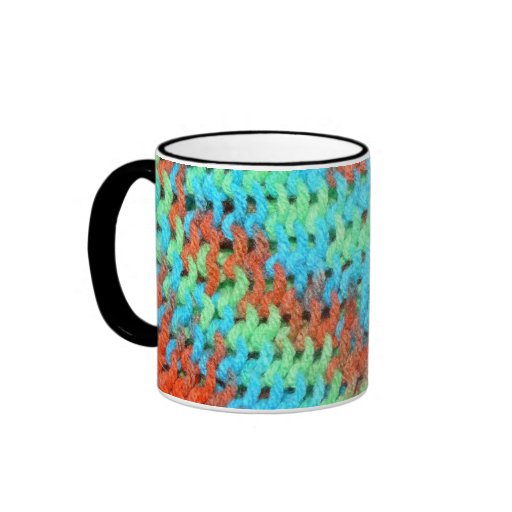 Knitted Yarn in Bright Colors Ringer Mug