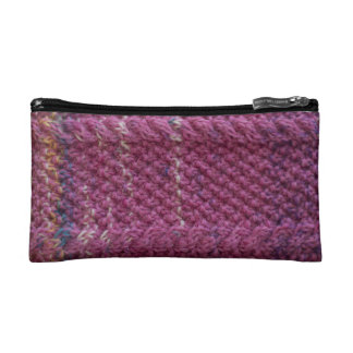 Knitted zip cosmetic bag