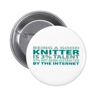 Knitter 3% Talent Pinback Button