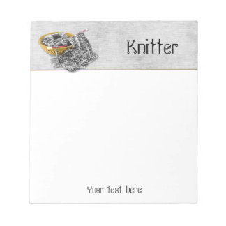 Knitter - Hand Knit Black and White Chenille Yarn Notepad