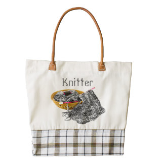 Knitter - Hand Knit Black and White Chenille Yarn Zazzle HEART Tote Bag