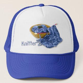 Knitter - Hand Knit Blue Chenille Yarn Trucker Hat