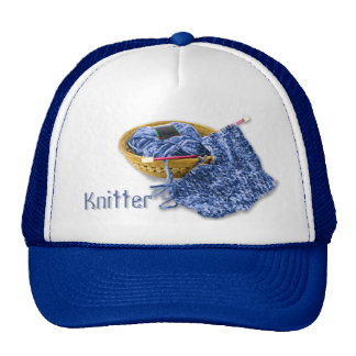 Knitter - Hand Knit Blue Chenille Yarn Trucker Hat