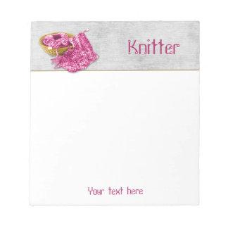 Knitter - Hand Knit Fuchsia/Pink Chenille Yarn Notepad