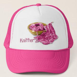 Knitter - Hand Knit Fuchsia/Pink Chenille Yarn Trucker Hat