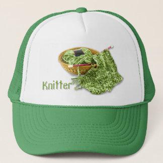 Knitter - Hand Knit Green Chenille Yarn Trucker Hat