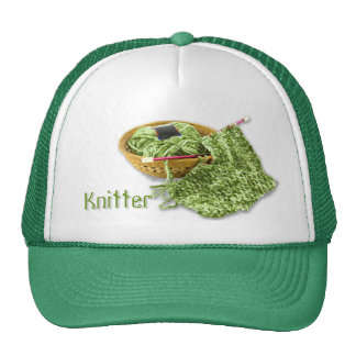 Knitter - Hand Knit Green Chenille Yarn Trucker Hat