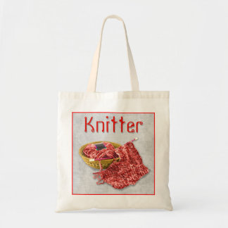 Knitter - Hand Knit red Chenille Yarn Budget Tote Bag